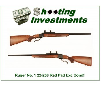 Ruger No. 1 22-250 Rem Red Pad nice wood about new!